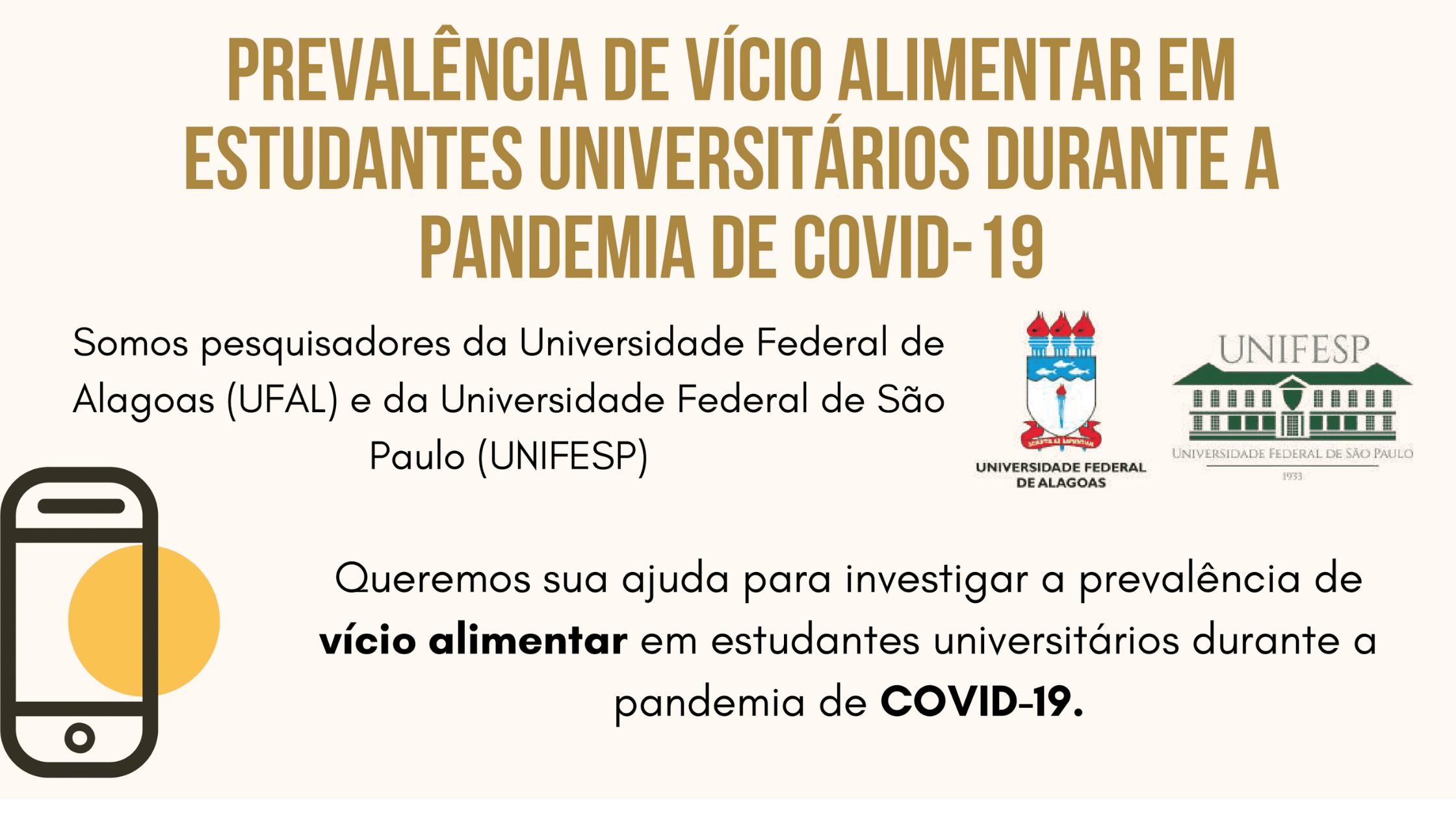 Proeg divulga pesquisa sobre vício alimentar em estudantes universitários durante apandemia de covid-19.