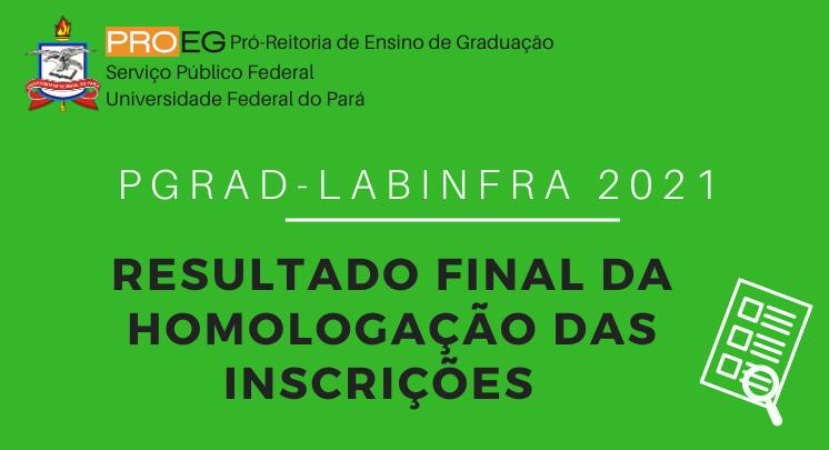 Resultado Final da Homologação das Inscrições PGRAD/LABINFRA 2021