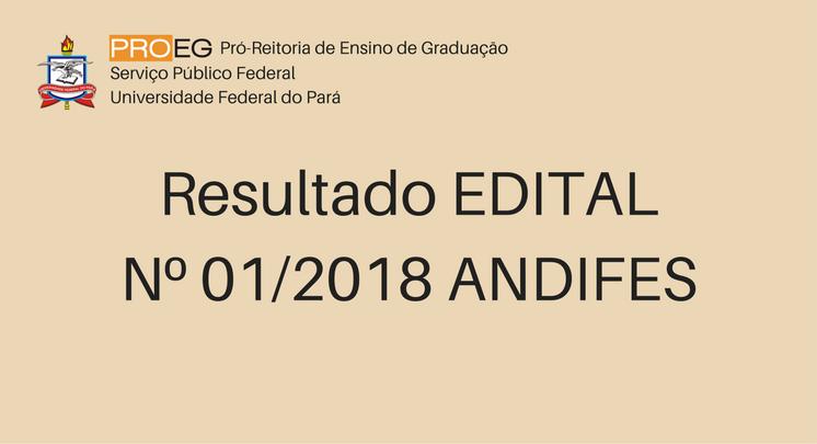 Resultado dos alunos classificados edital Nº 01/2018 ANDIFES