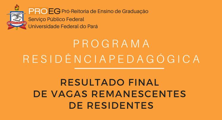 Resultado Final de Vagas Remanescentes de Residentes do Programa Residência Pedagógica